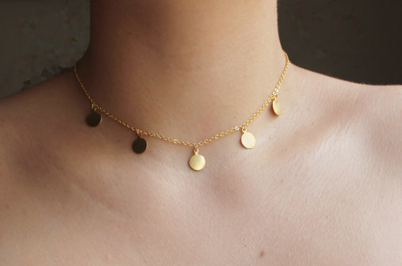 DISC NECKLACE  Gold disc necklace  5 Gold  disc by HelloSprings