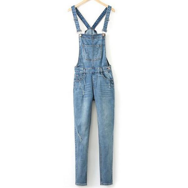 suspenders denim jeans jumpsuit