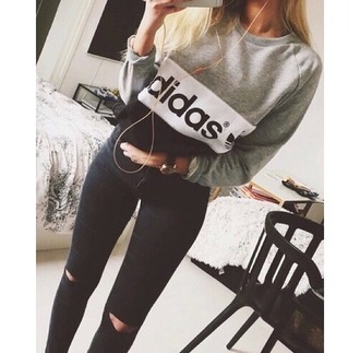 sweater adidas gris noir blanc sweet pull style classe beatiful