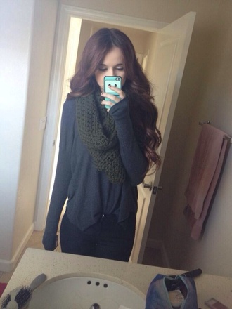 scarf knitted scarf acacia brinley olive green army green shirt sweater jeans blouse black grey shirt adventure time phone cover curled hair beautiful dark green green knit scarf long sleeves