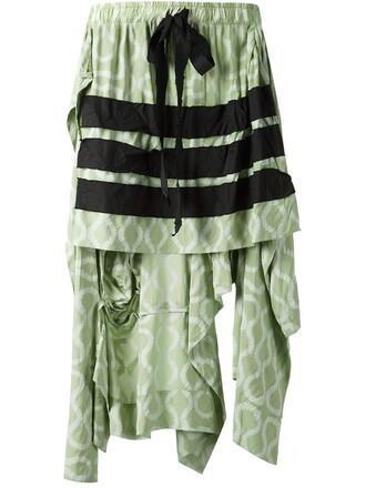 skirt women silk green