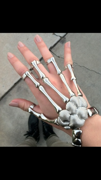 jewels skeleton bones grunge pale accessories ring bracelets hair accessory jewelry skull ring