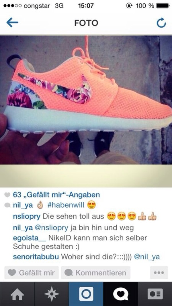 shoes nike nike roshe run flowers pink white nikes