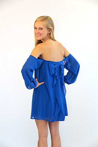 dress bows blue dress bow back dress off the shoulder dress off the shoulder