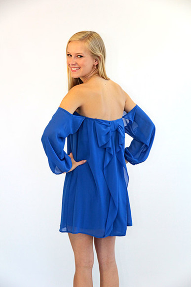dress bow blue dress Bow Back Dress off the shoulder dress off shoulder