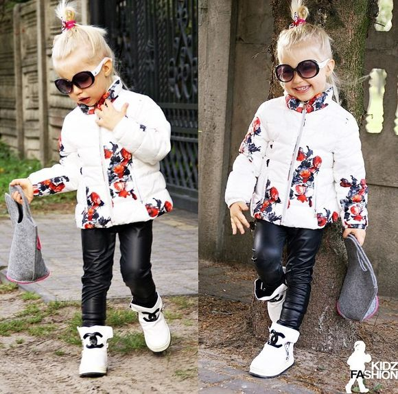 leather girly girl jacket leather pants leather leggings floral flower jacket chanel chanel sneakers purse sunglasses fashion kids fashion