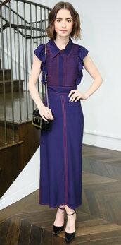 dress,lily collins,pumps,midi dress,spring outfits,spring dress,purple dress,maxi dress