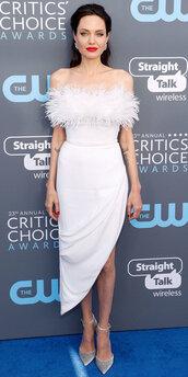 dress,white,white dress,angelina jolie,asymmetrical,asymmetrical dress,feathers,shoes