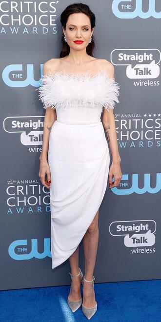dress white white dress angelina jolie asymmetrical asymmetrical dress feathers shoes