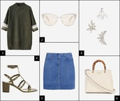 onto my wardrobe,blogger,sunglasses,ear cuff,khaki,sweater dress,denim skirt,studded shoes,outfit,sweater,top,jewels,skirt,bag
