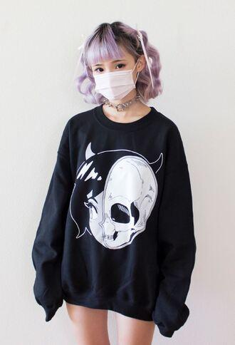 sweater demon skull horns pastel goth pastel goth half and half cute kawaii dark skeleton black hair