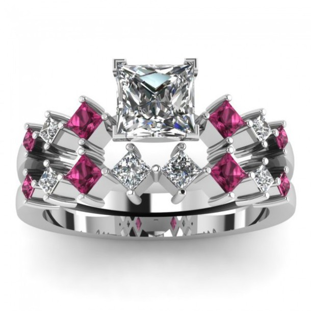 jewels evolees evoleescom princess cut diamond bridal wedding ring set with pink sapphire side - Pink Wedding Ring Set