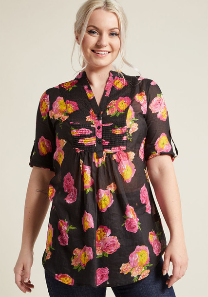 MK444-909 top floral top country sun soft perfect floral cotton black