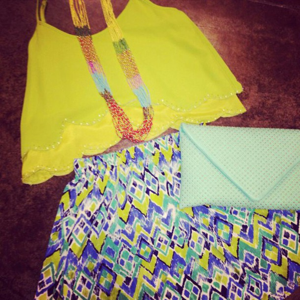blouse crop tops skirt bright tank top