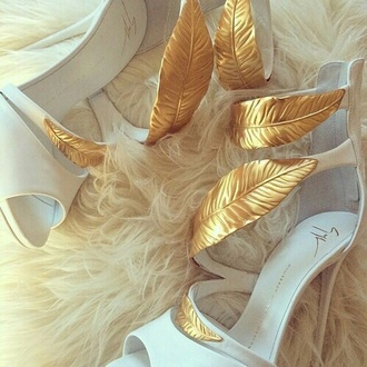 shoes white white shoes gold golden heels golden shoes white high heels high heels