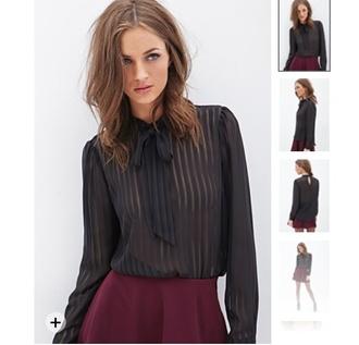 blouse forever 21 black transparent top
