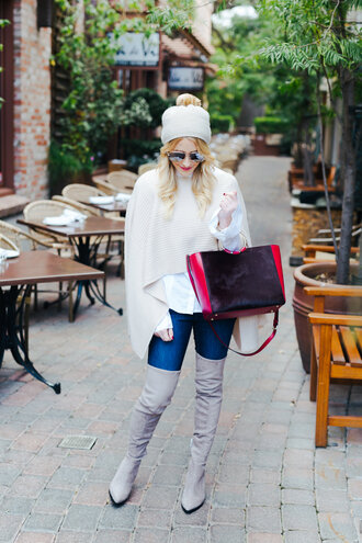 gbo fashion blogger top jeans shoes bag hat sunglasses jewels gloves fall outfits beanie boots over the knee boots white shirt grey boots
