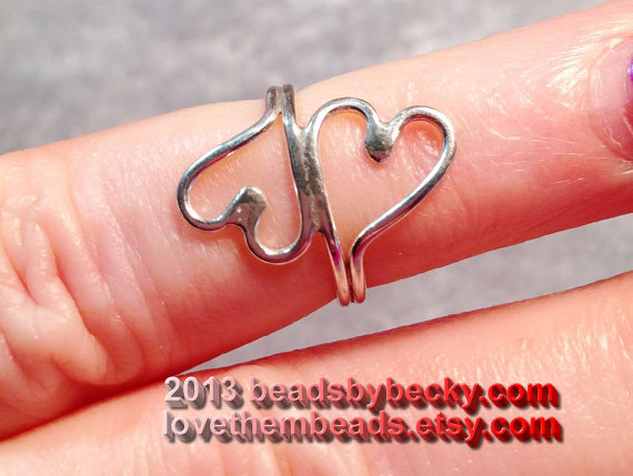 double open heart small 925 sterling silver  toe door lovethembeads