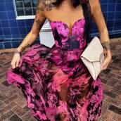 bustier dress,maxi dress,summer dress,spring dress,pink dress,hot pink,floral dress,homecoming dress,floral maxi dress