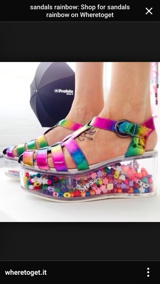 shoes rainbow platform sandals