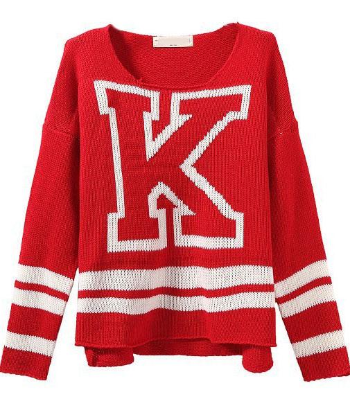 Red Long Sleeve K Pattern Knit Sweater - Sheinside.com