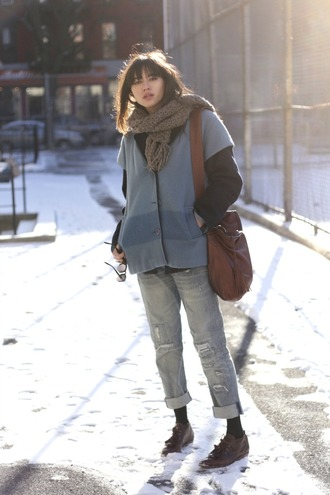 bag coat jeans natalie off duty scarf