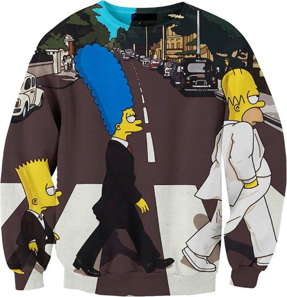 pullover sweater the simpsons homer simpson bart simpson marge simpson