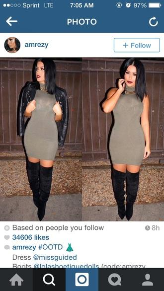 dress shoes turtleneck dress bodycon dress black boots leather jacket mini dress