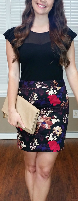 top black cap sleeves see through mesh work business casual floral pencils skirt tan nude beigee sheer sweetheart neckline foldover clutch handbag beige bag