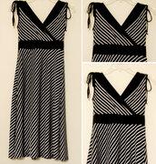 dress,sundress,sleeveless,sleeveless dress,stripes,striped dress,a line,a line dress,v neck,vneck dress,v neck dress,black and white dress