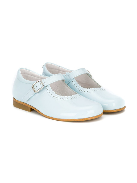 Andanines Shoes scalloped leather blue shoes