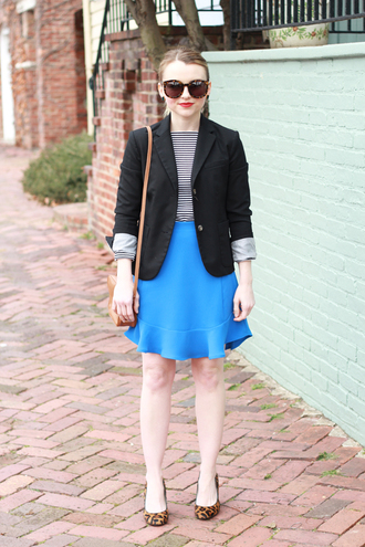 poor little it girl blogger blazer blue skirt ballet flats