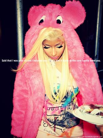 shirt graffiti top nicki minaj pink fur coat
