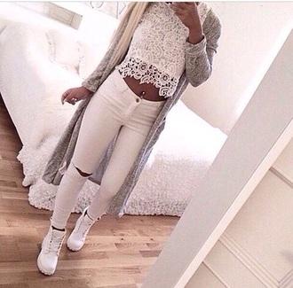 blouse jeans shoes cardigan