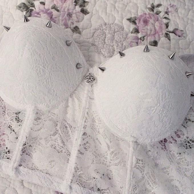 top bra style spikes kawaii kawaii bra white white studded studded stars lace bralette bra color