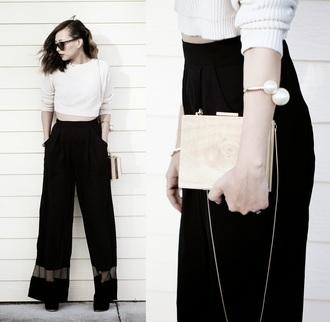different cands blogger pearl black pants wide-leg pants cropped sweater top pants jewels bag