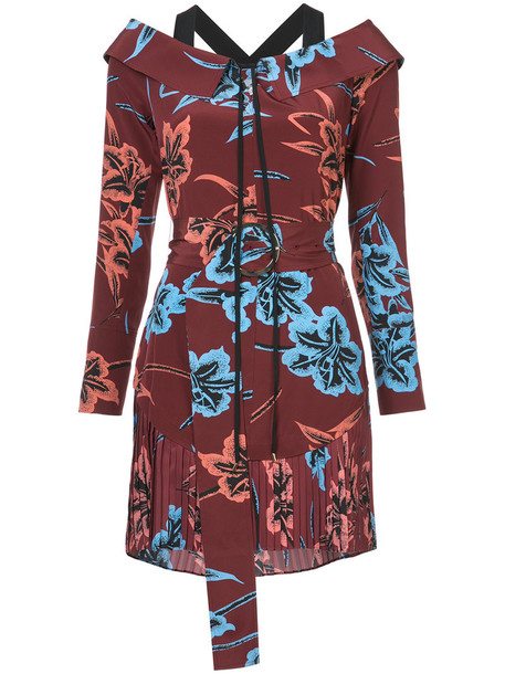 DEREK LAM 10 CROSBY dress belted dress pleated off the shoulder women silk red
