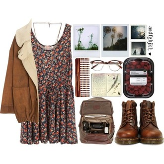 coat dress vintage brown pictures bag glasses fall outfits vintage glasses