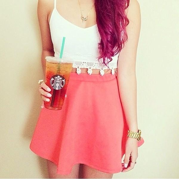 skirt pink skater skirt