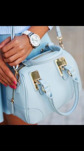 bag baby blue baby blue bag blue elegant handbag cute lovely mothers day gift idea pastel bag pastel pastel blue light blue shoulder bag blue bag blue purse gold buckles cute purse cute bag