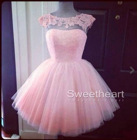 Pink ball gown round neckline backless lace homecoming dresses, prom dresses