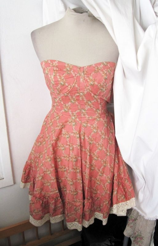 NEW STRAPLESS Pink FLORAL Garden CROCHET HEM Bustier Prairie CORSET DRESS Large | eBay