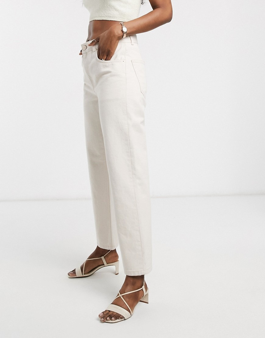 ASOS DESIGN Mid rise 'off duty' straight leg jeans in ecru