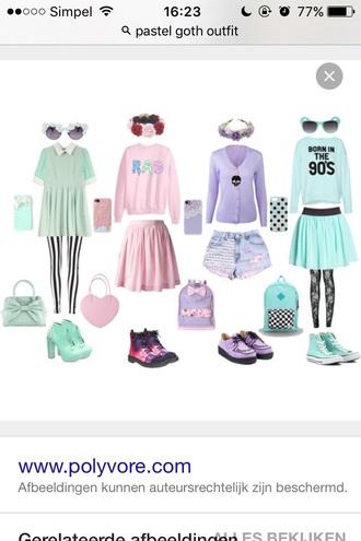 skirt mint pastel pink leggings shirt pastel pastel goth