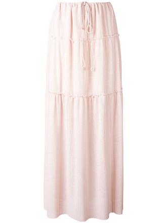 skirt maxi skirt maxi pleated women cotton purple pink