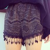 shorts,summer,fringes,black,gold,beautiful,tumblr,casual,lovely,lace shorts,hippie,boho,hipster,grunge,black lace short,lace,pants
