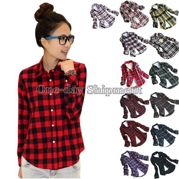 Button Down Casual Lapel Shirt Plaids Checks Flannel Shirts Tops ...
