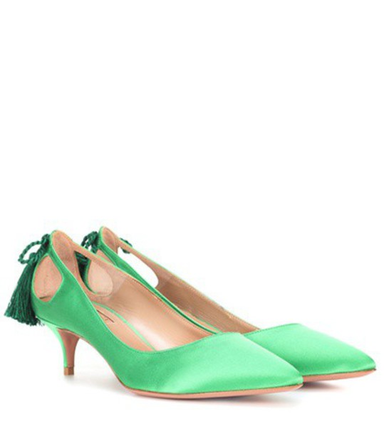 Aquazzura forever pumps satin green shoes