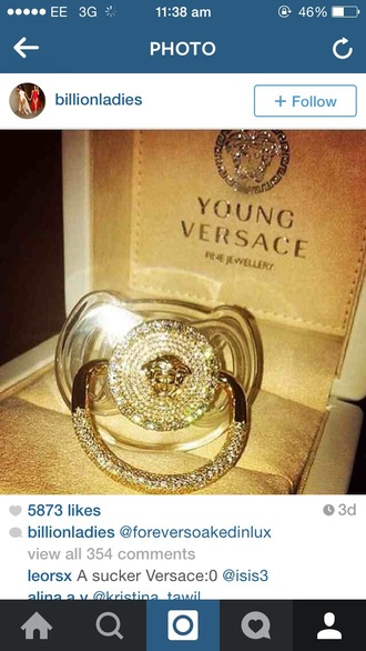 jewels young versace baby clothing dummy pacifier versace designer