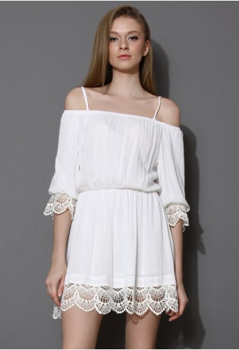 White Off-Shoulder Dress with Crochet Hem - Retro, Indie and ...